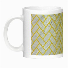 Brick2 White Marble & Yellow Colored Pencil (r) Night Luminous Mugs by trendistuff