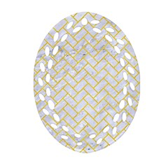 Brick2 White Marble & Yellow Colored Pencil (r) Oval Filigree Ornament (two Sides) by trendistuff