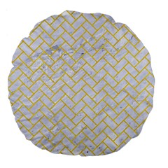 Brick2 White Marble & Yellow Colored Pencil (r) Large 18  Premium Flano Round Cushions by trendistuff
