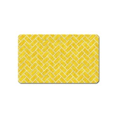 Brick2 White Marble & Yellow Colored Pencil Magnet (name Card) by trendistuff