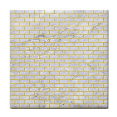 Brick1 White Marble & Yellow Colored Pencil (r) Face Towel by trendistuff