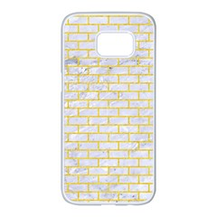 Brick1 White Marble & Yellow Colored Pencil (r) Samsung Galaxy S7 Edge White Seamless Case