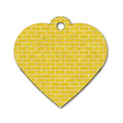 Brick1 White Marble & Yellow Colored Pencil Dog Tag Heart (one Side) by trendistuff