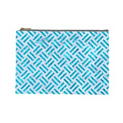 Woven2 White Marble & Turquoise Marble (r) Cosmetic Bag (large)