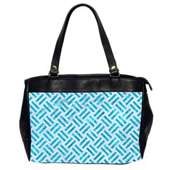 Woven2 White Marble & Turquoise Marble (r) Office Handbags (2 Sides)  by trendistuff