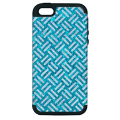 Woven2 White Marble & Turquoise Marble Apple Iphone 5 Hardshell Case (pc+silicone) by trendistuff
