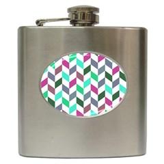 Zigzag Chevron Pattern Aqua Purple Hip Flask (6 Oz) by snowwhitegirl
