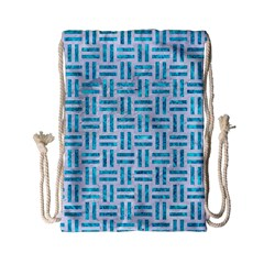 Woven1 White Marble & Turquoise Marble (r) Drawstring Bag (small) by trendistuff