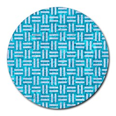 Woven1 White Marble & Turquoise Marble Round Mousepads by trendistuff