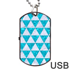 Triangle3 White Marble & Turquoise Marble Dog Tag Usb Flash (two Sides) by trendistuff