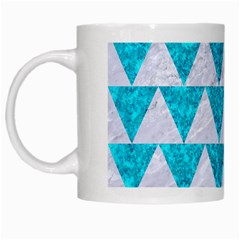 Triangle2 White Marble & Turquoise Marble White Mugs by trendistuff