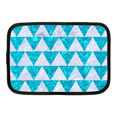 Triangle2 White Marble & Turquoise Marble Netbook Case (medium)  by trendistuff