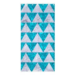 Triangle2 White Marble & Turquoise Marble Shower Curtain 36  X 72  (stall)  by trendistuff