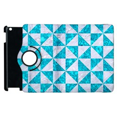 Triangle1 White Marble & Turquoise Marble Apple Ipad 3/4 Flip 360 Case by trendistuff
