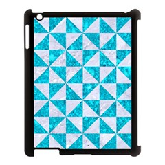 Triangle1 White Marble & Turquoise Marble Apple Ipad 3/4 Case (black) by trendistuff
