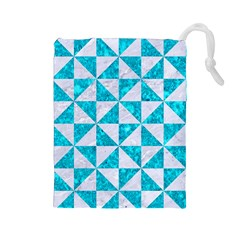 Triangle1 White Marble & Turquoise Marble Drawstring Pouches (large)  by trendistuff