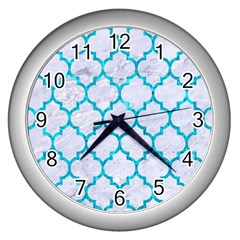 Tile1 White Marble & Turquoise Marble (r) Wall Clocks (silver)  by trendistuff