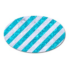 Stripes3 White Marble & Turquoise Marble (r) Oval Magnet by trendistuff