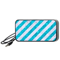 Stripes3 White Marble & Turquoise Marble (r) Portable Speaker by trendistuff