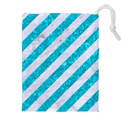 Stripes3 White Marble & Turquoise Marble (r) Drawstring Pouches (xxl) by trendistuff