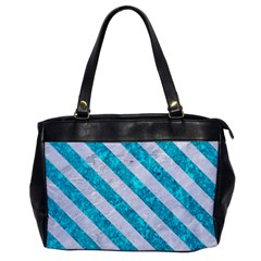 Stripes3 White Marble & Turquoise Marble Office Handbags by trendistuff