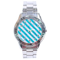Stripes3 White Marble & Turquoise Marble Stainless Steel Analogue Watch by trendistuff