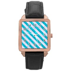 Stripes3 White Marble & Turquoise Marble Rose Gold Leather Watch  by trendistuff