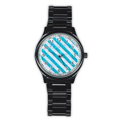 Stripes3 White Marble & Turquoise Marble Stainless Steel Round Watch by trendistuff