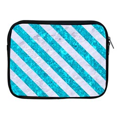 Stripes3 White Marble & Turquoise Marble Apple Ipad 2/3/4 Zipper Cases by trendistuff