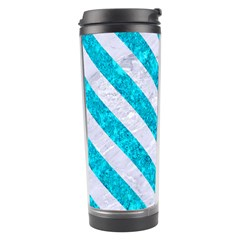 Stripes3 White Marble & Turquoise Marble Travel Tumbler by trendistuff