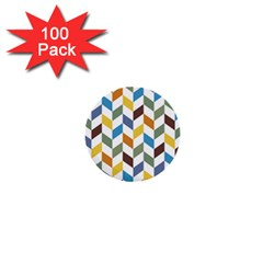 Zigzag Chevron Pattern Orange Blue 1  Mini Buttons (100 Pack)  by snowwhitegirl