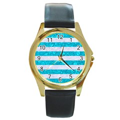 Stripes2white Marble & Turquoise Marble Round Gold Metal Watch by trendistuff