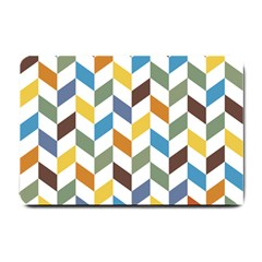 Zigzag Chevron Pattern Orange Blue Small Doormat  by snowwhitegirl