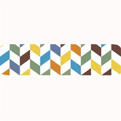 Zigzag Chevron Pattern Orange Blue Large Bar Mats by snowwhitegirl