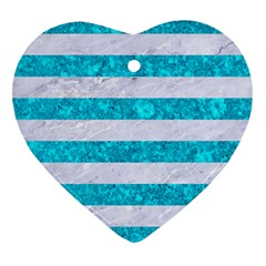 Stripes2white Marble & Turquoise Marble Heart Ornament (two Sides) by trendistuff