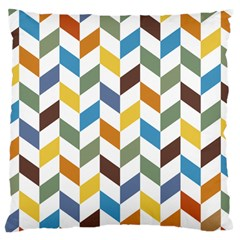 Zigzag Chevron Pattern Orange Blue Large Cushion Case (two Sides) by snowwhitegirl