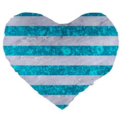 Stripes2white Marble & Turquoise Marble Large 19  Premium Heart Shape Cushions by trendistuff
