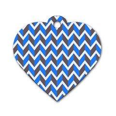 Zigzag Chevron Pattern Blue Grey Dog Tag Heart (two Sides) by snowwhitegirl