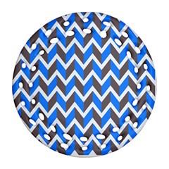 Zigzag Chevron Pattern Blue Grey Ornament (round Filigree) by snowwhitegirl