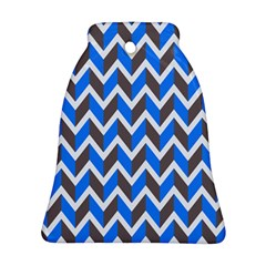 Zigzag Chevron Pattern Blue Grey Bell Ornament (two Sides) by snowwhitegirl
