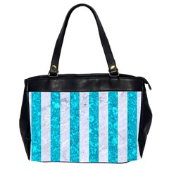 Stripes1 White Marble & Turquoise Marble Office Handbags (2 Sides)  by trendistuff
