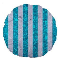 Stripes1 White Marble & Turquoise Marble Large 18  Premium Round Cushions by trendistuff
