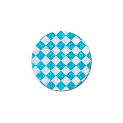 Square2 White Marble & Turquoise Marble Golf Ball Marker by trendistuff