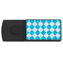 Square2 White Marble & Turquoise Marble Rectangular Usb Flash Drive by trendistuff