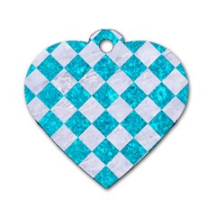 Square2 White Marble & Turquoise Marble Dog Tag Heart (one Side) by trendistuff