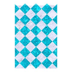 Square2 White Marble & Turquoise Marble Shower Curtain 48  X 72  (small)  by trendistuff