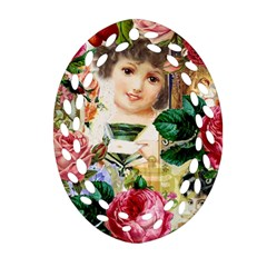 Little Girl Victorian Collage Oval Filigree Ornament (two Sides) by snowwhitegirl