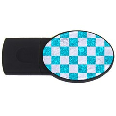 Square1 White Marble & Turquoise Marble Usb Flash Drive Oval (2 Gb) by trendistuff