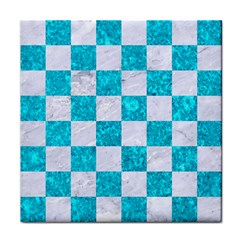 Square1 White Marble & Turquoise Marble Face Towel by trendistuff