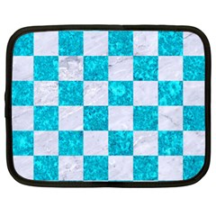 Square1 White Marble & Turquoise Marble Netbook Case (xl)  by trendistuff